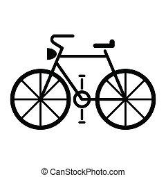 fiets, vector, symbool