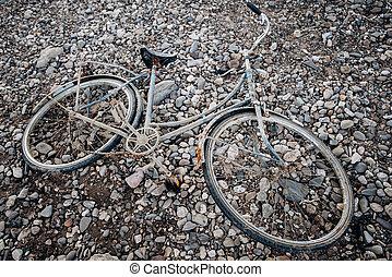 fiets, verlaten, rust., oud, fiets, naambord, strand.