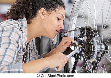 fiets, verticaal, werktuigkundige, vrouwlijk