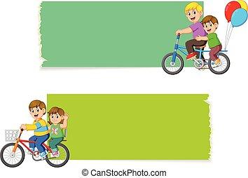 fiets, verzameling, plank, leeg, paardrijden, kinderen