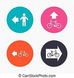 fiets, voetganger, teken., spoor, steegjes, icon., straat