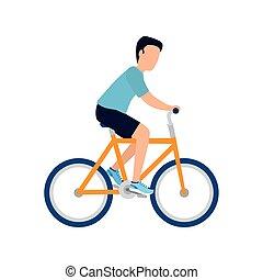 fiets, vrijstaand, vector, ontwerp, man