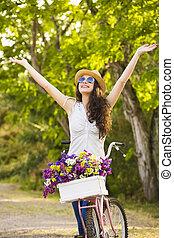 fiets, vrolijke , meisje, haar
