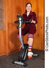fiets, vrouw, het spinnen, oefening