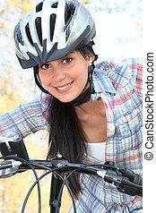 fiets, vrouw, park, jonge, paardrijden