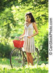 fiets, vrouw