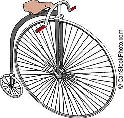 fiets, wiel, illustratie, witte , groot, vector,...
