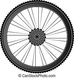 fiets, wiel, -, vector, illustratie, op wit