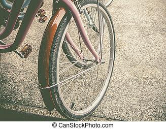 fiets, wielen, dichtbegroeid boven