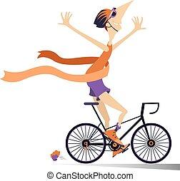 fiets, winnen, vrijstaand, hardloop, ritten, spotprent, man