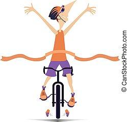 fiets, winnen, vrijstaand, illustratie, hardloop, ritten, spotprent, man