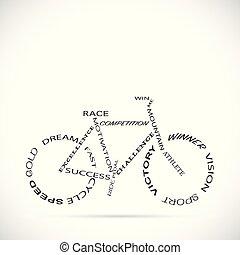 fiets, woorden, illustratie