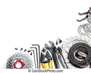 fiets, workshop, reserveonderdelen, en, gereedschap
