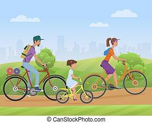 fietsen, fiets, road., gezin, famlly, park, jonge, fietsers, vector, paardrijden, meisje, geitje, illustration.