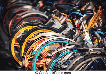 fietsen, geparkeerd, hangzhou, elektrisch, trottoir, aandeel