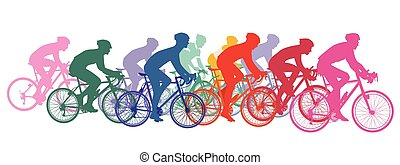 fietsen, het snelen, fietsers, groep, cycling