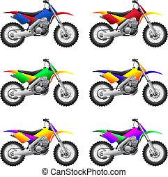 fietsen, sportende, motorcycles