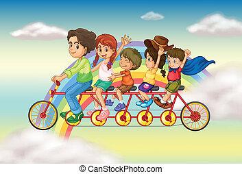 fietsende , groep, gezin, mensen