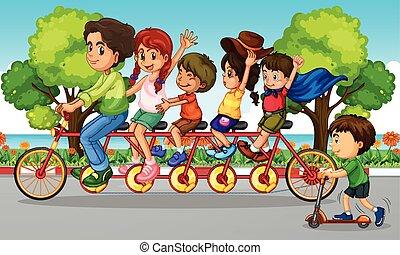 fietsende , park, gezin