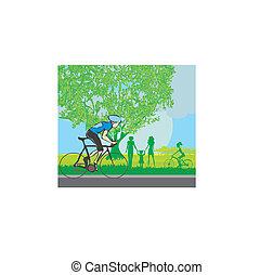 fietsende , park, man