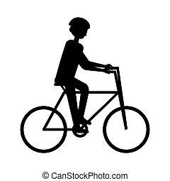 fietsende , silhouette, avontuur, man