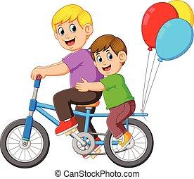 fietsende , vader, geitje, vrolijke