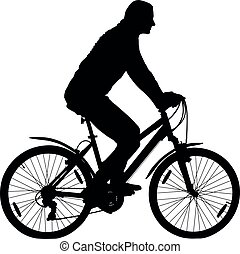 fietser, berg, silhouette, fiets, vector, meisje