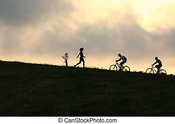 fietser, berg