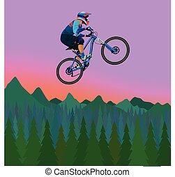 fietser, bergen, avond, beeld, hemel, achtergrond