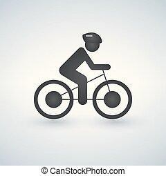 fietser, cycling, eenvoudig, teken., vector, pictogram