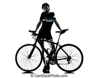 fietser, cycling, rijdende fiets, vrouw, vrijstaand, silhouette