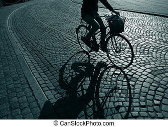 fietser, eenzaam, feamale
