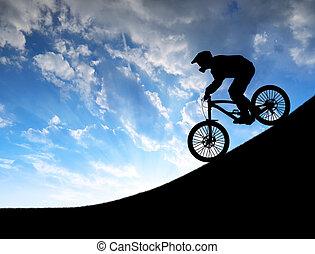 fietser, fiets, bergafwaarts