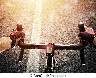 fietser, fiets, daglicht, straat, pedaling