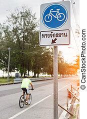 fietser, fiets park, meldingsbord, pictogram, of, beweging