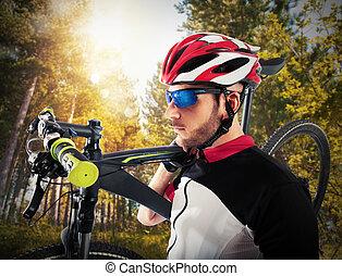 fietser, fiets, zijn, berg