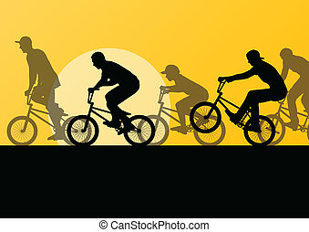 fietser, jonge, illustratie, silhouettes, vector,...