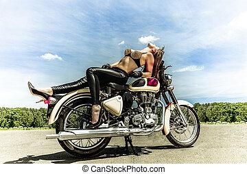 fietser, meisje, op, een, motorfiets