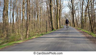fietser, op, een, biking, steegjes, in, een, park