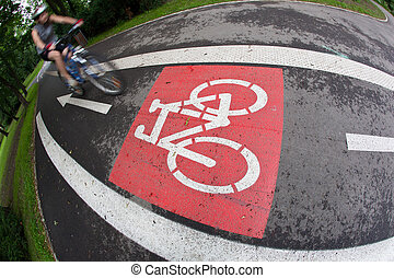 fietser, op, een, biking, steegjes, in, een, stad park