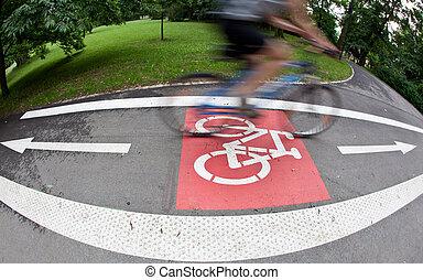 fietser, op, een, biking, steegjes