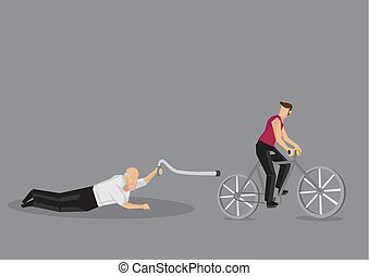 fietser, oud, illustratie, vector, straat, spotprent, vellen, man