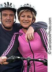 fietser, paar, middelbare leeftijd