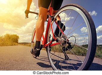 fietser, paardrijden, op, een, straat, bike.