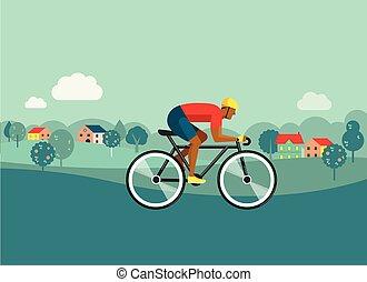 fietser, paardrijden, op, fiets, op, platteland, vector, illustratie, en, poster