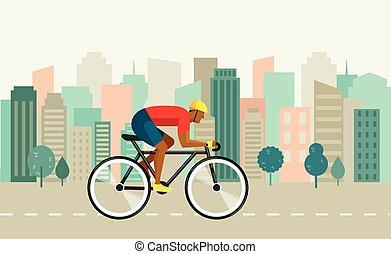 fietser, paardrijden, op, fiets, op, stad, vector, illustratie, en, poster