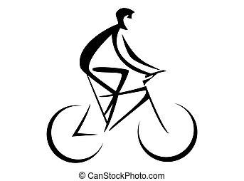 fietser, (person, bike), paardrijden
