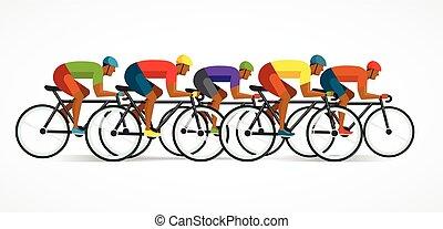fietser, poster, fiets, illustratie, vector, paardrijden
