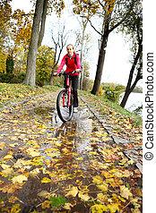 fietser, rijden, door, een, plas, in, de, herfst, park