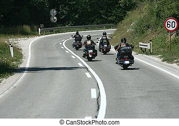 fietser, rijden, motorcycles, hakmes, snelweg